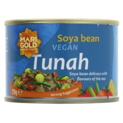Plant based alternative to tuna in a tin