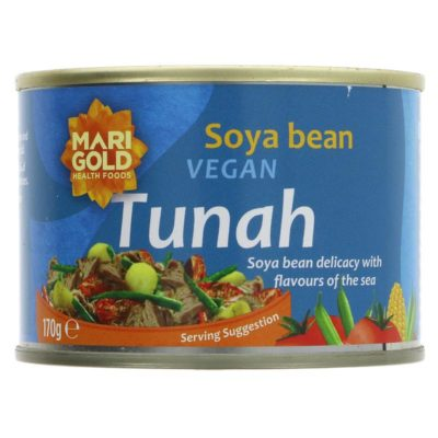 Plant based alternative to tuna in a tin